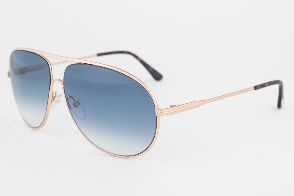 0d3fb36a397a Tom Ford Cliff Gold   Blue Sunglasses TF450 28P 664689718795