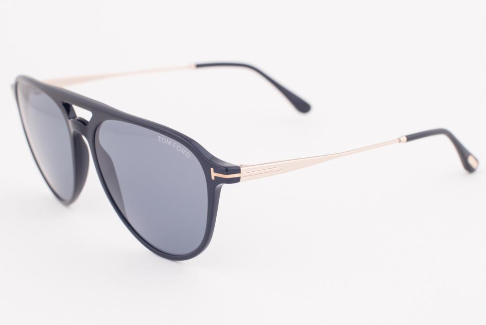 c59cd1a3b0c0 Tom Ford Aviator Sunglasses TF587 Carlo-02 01V Shiny Black   Blue ...